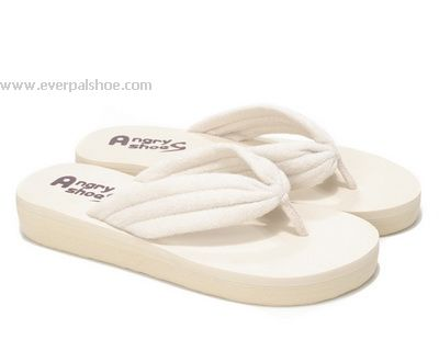 Middle Sole Flip Flops Towel Slippers White