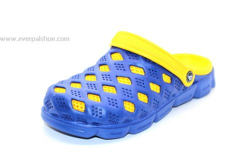 Blue Yellow Mesh Clogs for Men