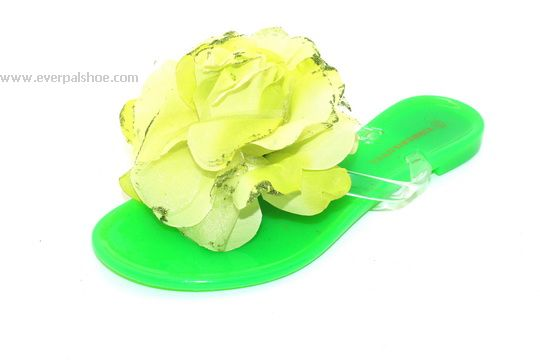 Jelly Shoes PVC Slippers with Big Flower